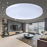 VINGO® 60W LED Deckenleuchte Wohnzimmerlampe Kaltweiß Rund Deckenbeleuchtung Wandleuchte Modern Beleuchtung Sternen Himmel Sternenhimmel IP44 Geeignet für Wohnzimmer Schlafzimmer Sparsame Dauerbeleuchtung