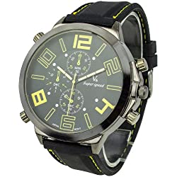 Men's Cool Super Large Dial Quartz Steel Silicone Band Wrist Watch Yellow Pointer