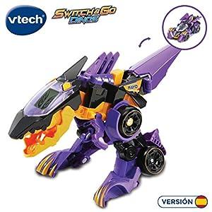 VTech- Tino, el tricerátops bólido Dinosaurio electrónico Interactivo transformable en Coche con Voz, Funciones, mas de 60 Sonidos y Frases. (3480-195222)