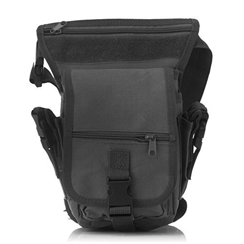 Yumqua Tactical waist gamba borsa, da uomo militare tela all' aperto bici ciclismo multiuso Drop Leg Pack Black