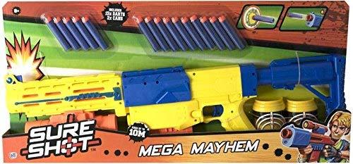 TOYLAND Pistola de Dardos Sure Shot Mega Mayhem Foam con latas de Objetivo - Juguetes de acción para niños