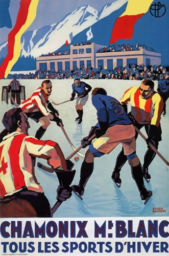 TX176 Vintage Chamonix Winter Sports Ice Skating French France Travel Tourism PLM Railway Poster Re-print Reproduction Print Card - A5 (148mm x 210mm)