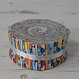 Stoff Freiheit, unter dem Meer Brights Jelly Rolls 40Stoffstreifen 100% Baumwolle Geschenkbündel je Strip 6,3cm Breite x 106,7cm Länge Quilten Craft Patchwork Stoff Bundle Made in der UK Marke Neu In Präsentation Paket