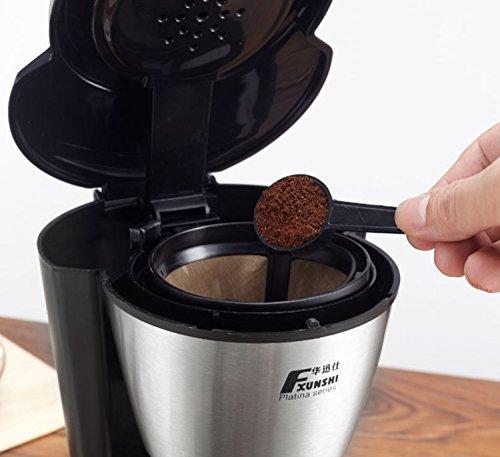Super-automatische Kaffeemaschine Thermische Kaffeemaschine Programmierbare kompakte tragbare Kaffeemaschine in Küche verwendet Weiß Schwarz Edelstahl 5-Cup, 600ML (Farbe : Schwarz) (Kaffeemaschine Programmierbare Edelstahl)