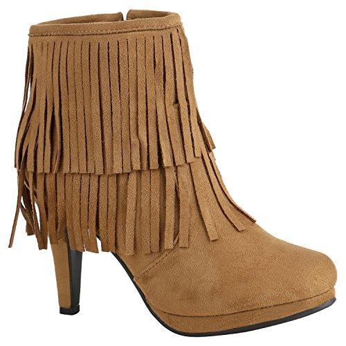 Kostüm Hippie Moderne - Klassische Damen Schuhe Stiefeletten High Heels Stilettos Schleifen 156999 Hellbraun Fransen 36 Flandell
