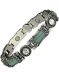 MPS® TERRA GH Ladies Gothic style Jade stones and Crystals Magnetic Bracelet with Clasp Featuring Strong 3,000 gauss Neodymium Magnets