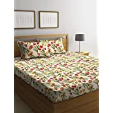 Bombay Dyeing Axia 104 TC Cotton Double Bedsheet with 2 Pillow Covers -Peach