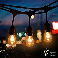 Tomshine Outdoor String Light Kit, 49.9Ft Waterproof Heavy Duty Commercial String Lights,E27 Base Garden Lights for Patio, Homes, Backyard,Wedding,Cafe(15 Sockets,Include 15+2 Spare Bulbs)