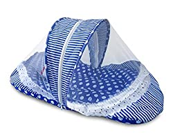 Littly Contemporary Cotton Baby Bedding Set with Foldable Mattress, Mosquito Net and Pillow - Polka Print (Blue)