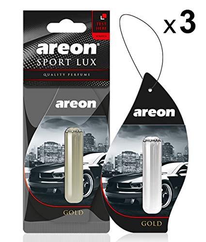 AREON liquido deodorante per auto appeso ciondolo in oro Home 3D a lunga durata profumo 5ml multi pack-Set di 3