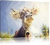 Lustiges Portrait einer Kuh Kunst Pinsel Effekt, Format: 100x70 auf Leinwand, XXL riesige Bilder fertig gerahmt mit Keilrahmen, Kunstdruck auf Wandbild mit Rahmen, günstiger als Gemälde oder Ölbild, kein Poster oder Plakat