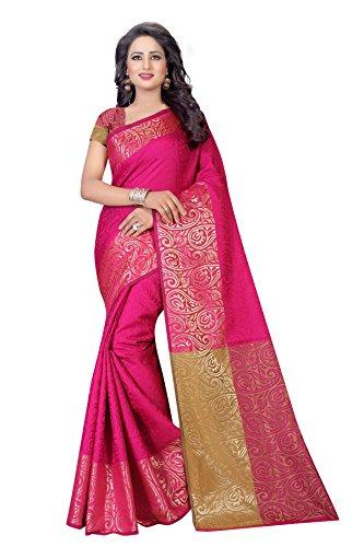 Shivalika Tex Women's Jacquard Cotton Sarees (PINK)