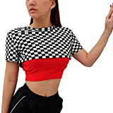 Grosses Soldes! Malloom Femme Manches Courtes O Neck Plaid Short Tops Blouse