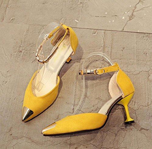 Respirável Sapatos Mostrou Salto Das Alto Selvagens Sandálias Amarelo Mulheres Sapatos Casuais qAwaY