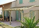 MIO-GIARDINO S-line - Pergola addossata in legno per terrazzi con copertura a forma curvata. Dimensioni: h 305 x 525 x 410cm