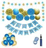 Dekoration Geburtstag Geburtstags Deko, Geburtstagsdeko-Set Dekorationsset für Geburtstagsparty für Junge/Mann, Deko Geburtstag,Party Dekoration,Kindergeburtstag Deko Set,Premium-Qualität Blau und Gold; Erster 1 Geburtstag Junge luftballons Ballons