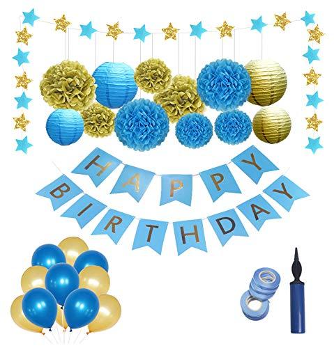 Deko Geburtstag,Geburtstag Dekoration,Geburtstags Deko,Geburtstagsdeko-Set für Junge/Mann,Premium-Qualität Blau und Gold;Erster 1 Geburtstag Junge,Pom Poms,Happy Birthday Girlande,Ballons luftballons