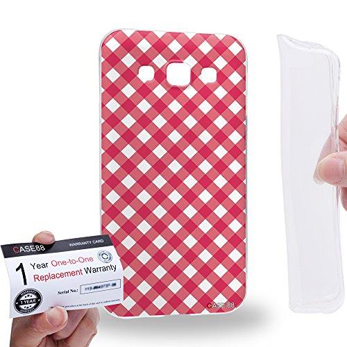 Case88 [Samsung Galaxy E5] Gel TPU Hülle / Schutzhülle & Garantiekarte - Art Coloured Doodle Patterns Pink Checker Art1406 Checker Tpu Gel
