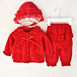 HighpotNewborn Baby(0~12M) Girl Lace Cardigan+Long Pant+Cap Outfit Princess Set (60(3-6M)