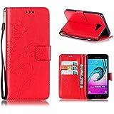 Etui Samsung Galaxy A5 2016, KATUMO Housse Etui Flip Case Cover Portefeuiler pour Samsung Galaxy A5 2016 Coque en Cuir+Silicone Bumper Case-#0Rouge