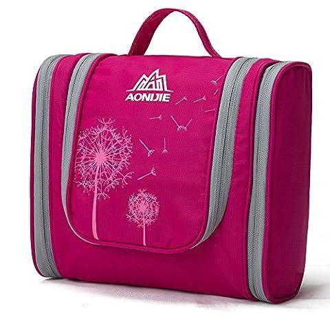 Travel Kulturbeutel, LaTEC Tragbare Wash Taschen Kit Organizer für Frauen Kosmetik Make-up oder Men Shaving Kit, mit hängenden Haken & Multi Taschen (Rose Rot)