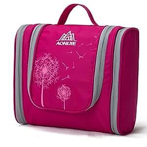 Beauty Case da Viaggio, LaTEC Borsa da Toilette portatile Borse lavaggio kit Organizzatore per le donne cosmetico di trucco o la rasatura Kit uomini, con appesi Hook & multi tasche (Rosa Rosso)