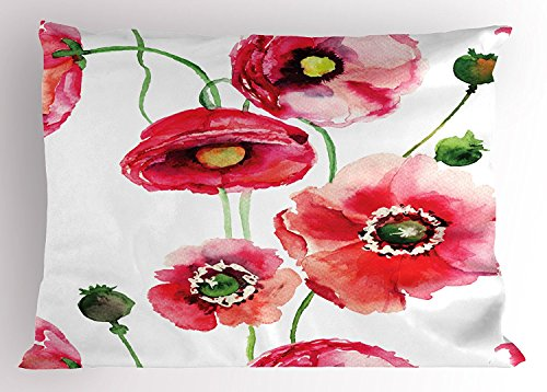 Watercolor Flower Pillow Sham, Stylized Poppy Blossoms Buds Artsy Seasonal Illustration Print, Decorative Standard Queen Size Printed Pillowcase, 30 X 20 Inches, Dark Pink Green White (Blossom Sham)