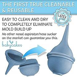 Aspirador Nasal Bebé Succionador de Mocos para Bebés recién nacidos y niños pequeños - Aspirador Nasal lavable y reutilizable con Jeringuilla para Bebés - Succionador de Nariz de Hospital de Baby Cakes
