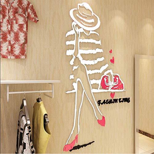 Dekorative Wandaufkleber 3d des kreativen Bekleidungsgeschäfts der Mode Weiß 137.5x200cm