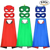 Tacobear 3pcs Capes und 6pcs Masken für Kinder Dressing up Umhänge Superhelden Kostüme für Jungen und Mädchen Geburtstagsgeschenk und Kinder Halloween Kostüme Party