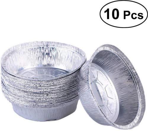 BESTONZON 100Aluminium Auffangwannen Einweg Aluminium Folie Tabletts Runde Form Aluminium Food-Tabletts Take Out Pfannen Ideal für Mahlzeiten Prep, Pies, Kuchen, Fleisch (Ohne Deckel/15,2cm) 2 Take Out Container