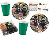 Amscan/Diverse 65-TLG. Party-Set Lego Ninjago - Teller Becher Servietten Kerzen für 16 Kinder