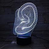Kreative Ohr 3D Nachtlicht LED Touch Lampe Illusion Lampful Gradient Home Neben Lightin