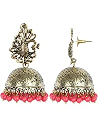 Prita's Pearl With Red Gold Plated Jhumki Earrings For Women
