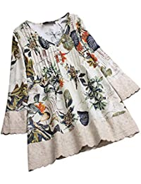 7830ca98229 Lazzboy Tops Blouse Shirt Womens Ethnic Long Sleeve V Neck Ladies Floral  Print Button Plus Size