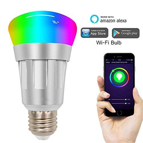 Smart Light E27 Smart LED Lamp, Compatible con Alexa, Lámparas LED Regulables, Multicolor Color Glow, Los Cambios De Luz WiFi, Luz Remota Regulable, Luz Inalámbrica por Luz De Temporizador