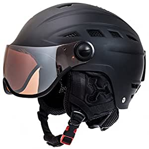 Casque Casque de ski/snowboard Relax Slide Noir, casque de sports d'hiver pour homme et femme avec visière et sac de rangement S Noir - Noir