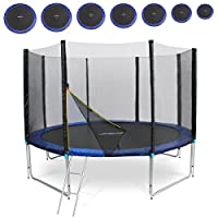 Physionics Trampoline with Ladder Rain Cover Safety Net in Several Dimensions for Kids Adults