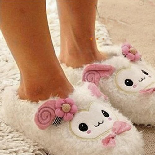Pantofole Per Donna,Amlaiworld Cute Cartoon Caldo Casa Pantofole Coppia Dono Bianco