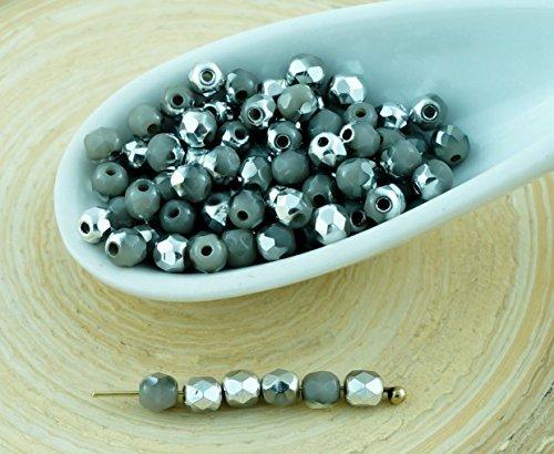 100pcs Opaque Gris Argent Demi-Rond à Facettes Feu Poli Verre tchèque Perles de Petit Écarteur 3mm