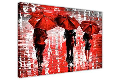 Querformat, gerahmt, Rot 3Regenschirme von Leonid Afremov auf Leinwand, Bilder Drucke Home Deco Poster Größe: 101,6x 76,2cm (101x 76cm) - Iii Gerahmt Leinwand