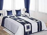 Zweiseitige Tagesdecke Bettüberwurf Lara 230 x 260 cm Zweifarbig: Weiß Dunkelblau