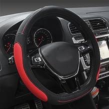 XuanMax Universal Funda Cubierta del Volante PU Cuero Respirable Antideslizante Vehiculo Auto Coche PU Leather Steering Wheel Cover 38cm - Rojo