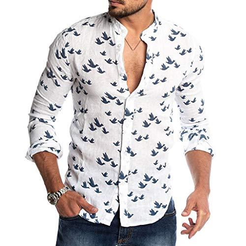 Luckycat Herren Hawaii Hemd Langarm Flamingos Aloha Party Shirt Palm Beach Shirts Herren Freizeithemd Langarm Männer Sommer HerbstHemd Casual Regular Fit Shirt