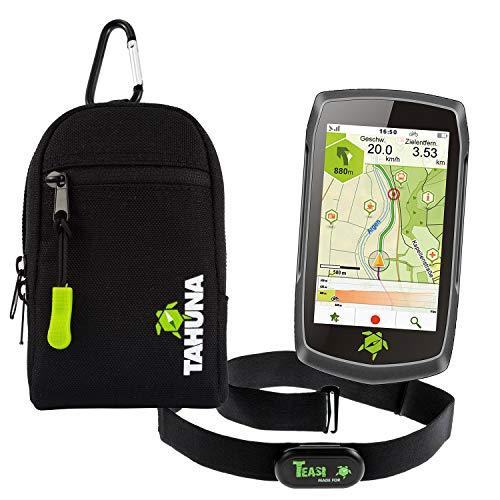 TEASI ONE4 - Fahrrad- & Wandernavigation + Fahrradhalter Lenkerbefestigung + USB Netzteil + Schutzfolie + optionales Zubehör (Teasi one4 + Dualhalter, Herzfrequenz-Sensor+Teasi Tasche)
