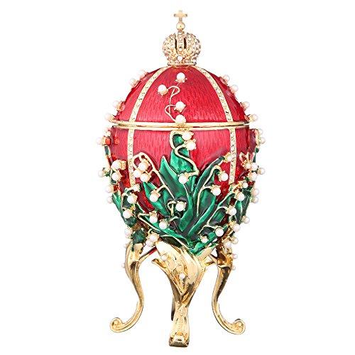 danila-souvenirs Russische Fabergé-Stil Ei/Schmuckkästchen/Spieluhr mit russischen Kaiserkrone & Blumen 16 cm rot