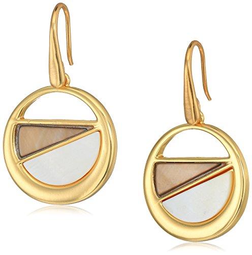 t-tahari-mother-of-pearl-disc-gold-brown-drop-earrings