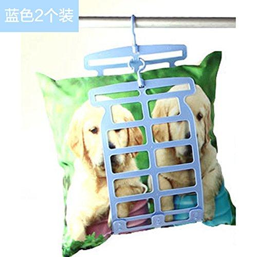 u-icordarsi double-hook von Kissen und Clip pillow-mounting Balkon Puppen Aufhängen und Falten Kleidung für Montage auf rack-Kissen Zahnstange 2, blau (Puppen-schrank Kleiderbügel)