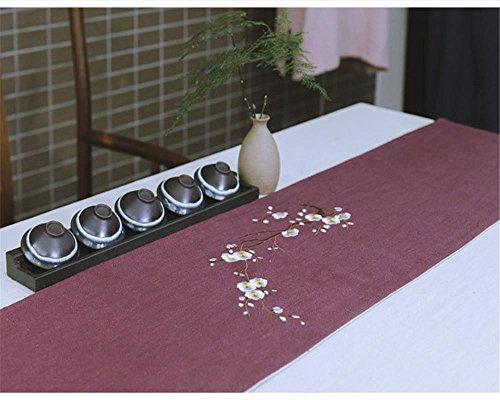 Preisvergleich Produktbild XXFFH Tischläufer Chinesische Handgemachte Tischläufer Leinentuch Zen Blüte Teezeremonie Mit Null Sitze Gestickten Tischläufer Tee Zubehör , E , 30X50Cm