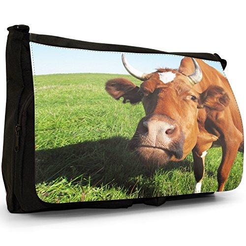 Mucca–Borsa Tracolla Tela Nera Grande Scuola/Borsa Per Laptop Brown Cow With Horns